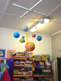planeten opgehangen in de boom bij tuinhuis Sistema Solar, Science Lessons, Science Activities, Solar System For Kids, Science Models, Diy And Crafts, Crafts For Kids, Space Theme, Nursery Themes