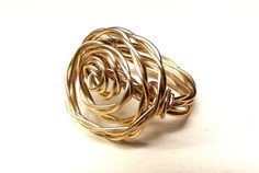 Modern Gold Rosette Ring  Twisted Wire Wrapped by SherryKayDesigns, $28.00