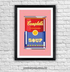 Poster Sopa Campbell Pixel Rosa