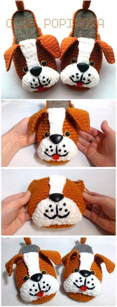 How To Crochet Puppy Slippers - Yarnandhooks