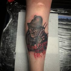 Freddy Krueger colour tattoo portrait. Done by Adam Thomas from Marked One Tattoo & Gallery.