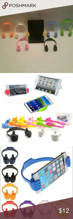 Thumbs-up tablet or cellphone stand buy1get1free 2 pcs bundle buy 1 get one free tell us what color you want after payment is made Cool, cute, compact and effective! Thumbs-up OK design! Use it as phone mount at home, phone stand at the office, kitchen display, airplane device viewer for fashion and youth feel. Frees up your hands with this stable stand so you can watch movies, surf the web, view photos more easier. Stretch up to 20 inches.Adjust the palm to hold your device firmly and…