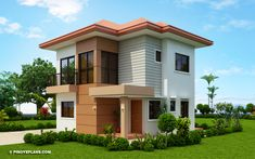 This contemporary classic adaptation on the design is surely inviting. This is another model where elements of design such as symmetry and proportion were successfully intermixed in the exterior elevation. 2 Story House Design, Duplex House Design, Small House Design, Modern House Design, Indian House Plans, My House Plans, Modern Bungalow House, Two Storey House, Built In Cabinets