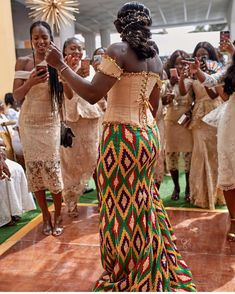 Image may contain: 3 people, people standing African Fashion Skirts, African Lace Dresses, African Print Fashion, African Print Wedding Dress, African Wedding Attire, Couples African Outfits, African Traditional Wedding Dress, Kente Dress, Africa Dress