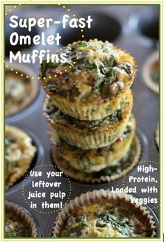 Easy healthy breakfast     Ditch the pop tarts and pick-up a tasty Omelet Muffin! Loaded with veggies and protein, these will give you the energy you need to get through your morning! Aren't they cute?!?! Super-fast Omelet Muffins 1 1/2  cups assorted veggies, chopped small (you can use juice pulp here) 2 cloves chopped fresh garlic 1 teaspoon salt [...]