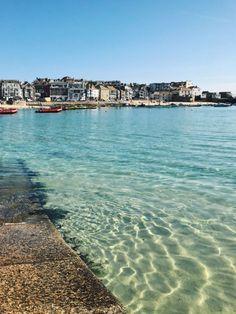 Mykonos, Santorini, Cornwall England, St Ives Cornwall, Beautiful Places To Travel, Beautiful Beaches, Beautiful Places In England, Uk Beaches, England Beaches