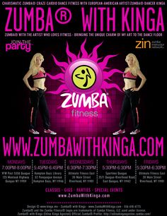 Charismatic Zumba® craze dance fitness classes, master classes, parties, gigs and special events with European-American Artist/Zumba® Dancer KINGA in the Hamptons, Long Island, New York.