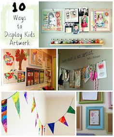 These are some fun ideas to display all the fun artwork my girls have done throughout the years.