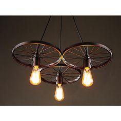 Shop for Serapiko 3-light Antique Bronze 20-inch Edison Chandelier with Light…