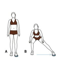 Illustration of Valslide side lunge Workout Protein, Side Lunges, Travel Workout, Resistance Band Exercises, Sweat It Out, Back Exercises, Workout Videos, Exercise Workouts, Workout Tips