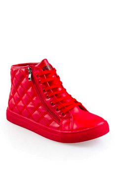 c1b7b15c975 Quilted Red High Top Sneakers. Go monochromatic in these mens red high top  sneakers featuring