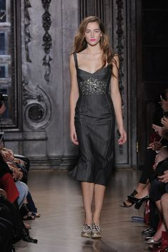Structured dress with Swarovski Elements embellishments at Giles. Photography by catwalking.com.