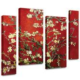 Found it at Wayfair - 'Interpretation in Red Almond Blossom' by Vincent Van Gogh 4 Piece Print of Painting Gallery-Wrapped on Canvas Set