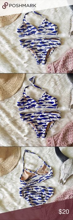 J Crew 3T Toddler Fish Swimsuit Such an adorable toddler bikini. Perfect for lazy beach days or poolside BBQs. Blue and gold fish on top and bottom. Has been worn and loved. Adjustable halter strap. Check out my other toddler listings and bundle to save. ❤ J Crew Swim Bikinis