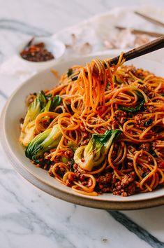 Spicy Crispy Pork Noodles (Made with Spaghetti!) recipe The Woks of Life Spicy Recipes, Pork Recipes, Asian Recipes, Mexican Food Recipes, Dinner Recipes, Cooking Recipes, Healthy Recipes, Freezer Recipes, Ethnic Recipes