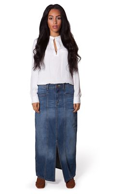 Fashionable USKEES Rachel Long Denim Skirt - Classic denim maxi ...