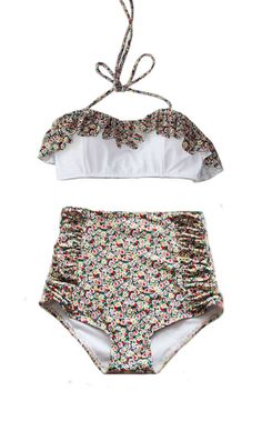 Flora White Layer Tier Top and Floral Vintage Retro High Waisted Shorts Bottom Handmade Swimsuit Swimwear Bikini Bathing Suit Playsuit S M L