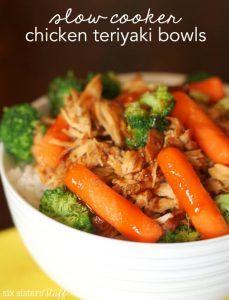 Slow Cooker Chicken Teriyaki Bowls   Six Sisters' Stuff