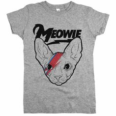 """Show your appreciation for music icons and cool cats whenever you wear our """"Meowie"""" t-shirt. It features a Sphynx cat wearing some pretty famous eye makeup."""