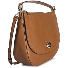 Coach Cuir Leather Shoulder Bag ($416) ❤ liked on Polyvore featuring bags, handbags, shoulder bags, brown, brown leather purse, real leather handbags, leather purse, shoulder bag purse and genuine leather handbags