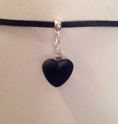 Leather Choker/Black Heart Necklace/Handmade Black Leather Choker/Genuine Deerskin Lace Leather/Black Heart/Valentines Day Jewelry From my Etsy shop https://www.etsy.com/listing/489625838/leather-chokerblack-heart