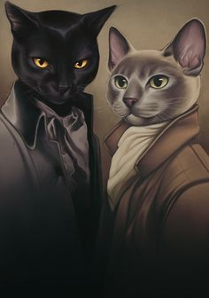 Kai Fine Art is an art website, shows painting and illustration works all over the world. Desenhos Love, Black Cat Art, Animal Society, Fancy Cats, Cat People, Cat Drawing, Crazy Cats, Cool Cats, Pet Portraits