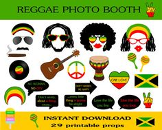 Photo Booth Props, Travel Prints & More by HappyFiestaDesign Music Themed Parties, Music Party, Rasta Party, Jamaican Party, Caribbean Party, Island Theme, World Thinking Day, Photo Booth Props, Photo Booths