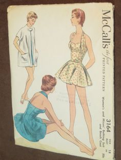 637db94a760c8 1950 s Bathing Suit and Beach Coat  McCall s 3164