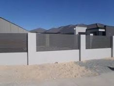 Image result for rendered fence with timber slats