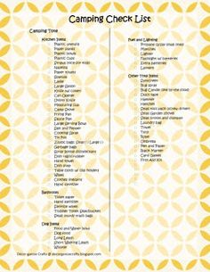 Some great checklists and ideas for camping and keeping it organized. From www.decorganize.blogspot.com