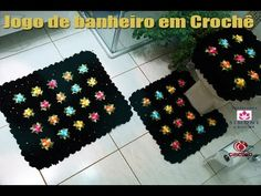 jogo de banheiro Pipoquinha crochê- Tapete Vaso - Professora Simone