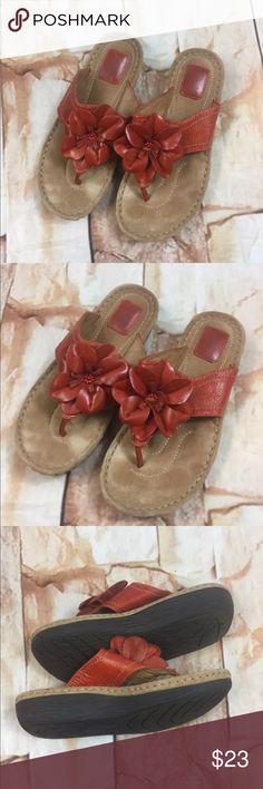 Clarks Artisan Latin Samba Leather Sandals Clarks Artisan  Latin Samba Leather Sandals  Womens 8.5 M  Orange Thong Shoes Clarks Shoes