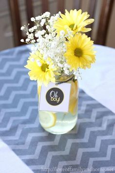 yellow baby shower floral arrangement
