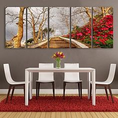 E-HOME® Stretched Canvas Art Tree Decorative Painting Set of 5 – USD $ 121.99