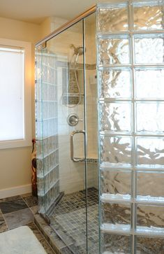 Frosted Glass Blocks Bathroom Awesome How to Create A Luxury Glass Block Shower with A Frameless Bathroom Shower Doors, Bathroom Windows, Glass Shower Doors, Glass Bathroom, Bathroom Wall Decor, Small Bathroom, Glass Door, Glass Showers, Glass Brick