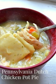 Pennsylvania Dutch Chicken Pot Pie from my Pennsylvania Dutch great grandmother. I grew up eating this and love it. People think of pot pie with a top and bottom crust. This is Pennsylvania Dutch country's real chicken pot pie. Crockpot Recipes, Soup Recipes, Chicken Recipes, Dinner Recipes, Cooking Recipes, Recipies, Dinner Ideas, Chicken Meals, Meatball Recipes