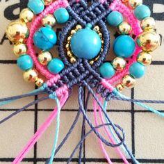 Bohemian earrings macramé Pompons and beads Macrame Earrings, Macrame Jewelry, Crochet Necklace, Micro Macramé, Earring Tutorial, Bijoux Diy, Turquoise, Round Beads, Gemstone Beads