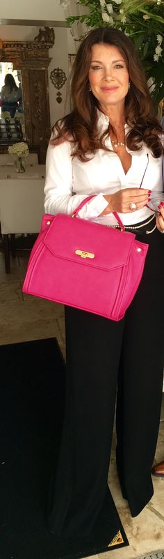 Lisa Vanderpump wears this custom made Alexandra K. vegan hot pink handbag from www.allTRUEist.com