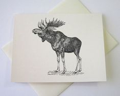 Moose Note Cards Stationery Set of 10 Cards by PetitePaperie, $10.00