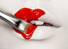 Painted red lips