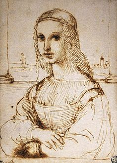 Portrait of a Young Woman by Raphael. Probably preliminary sketch for Woman with Unicorn at Borghese Gallery. Pen and brown ink, black chalk, 22 x 16 cm Paris, Musee du Louvre.