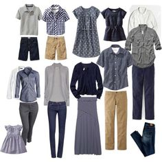 family photos in navy blue and khaki - - Yahoo Image Search Results Fall Family Picture Outfits, Family Picture Colors, Family Portrait Outfits, Family Photos What To Wear, Navy Family Pictures, Large Family Photos, Fall Family Photos, Family Pics, Extended Family Pictures
