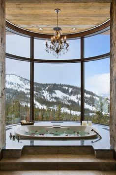 Bathroom View. Milner Residence by Locati Architects. Location: Big Sky, Montana (Photography: © Roger Wade Studio)
