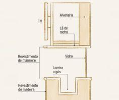 A instalação da TV acima da lareira exige alguns cuidados para que o calor não danifique o aparelho. Aqui, Fernando Piva posicionou a tela à frente da chama, que fica mais atrás, e revestiu a câmara de fogo de lã de rocha – um tipo de isolante térmico. A estante tem estrutura de alvenaria coberta de folhas de madeira.