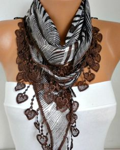 ON SALE  Brown  Scarf   Heart Scarf  Multicolor Scarf by fatwoman
