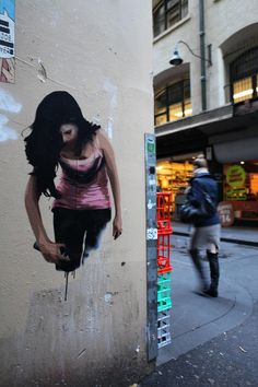 16 layer handcut stencil by Joshua Smith pasted in Melbourne. Model is Kate Kowald. http://espionage-gallery.com/ Photo on flickr: http://www.flickr.com/photos/andrianakis/7589390164/