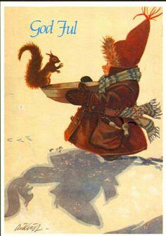 Julekort Kjell Aukrust. Ekorn/barn. God Jul i blått. Utg C. A Erichsen Norwegian Christmas, Scandinavian Christmas, Holiday Cards, Christmas Cards, Most Popular Image, Alesund, Penny Black, Fairy Land, Vintage Postcards