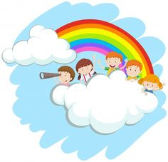 Happy children over the rainbow illustration Free Vector Sunday School Crafts For Kids, Education Logo Design, School Frame, School Murals, School Clipart, Illustration, School Decorations, Child Day, Art Wall Kids