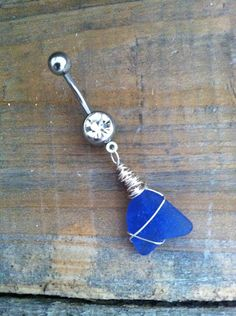 Belly Button Ring Sea Glass Belly Button Ring Sea by ChelseaJewels, $15.00