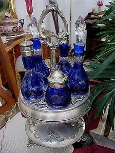 Victorian Cobalt Blue condiment caster Cruet Bottle Set, Cut to Clear… Antique Glassware, Antique Bottles, Vintage Bottles, Vintage Perfume, Crystal Glassware, Crystal Vase, Love Blue, Blue And White, Glass Bottles